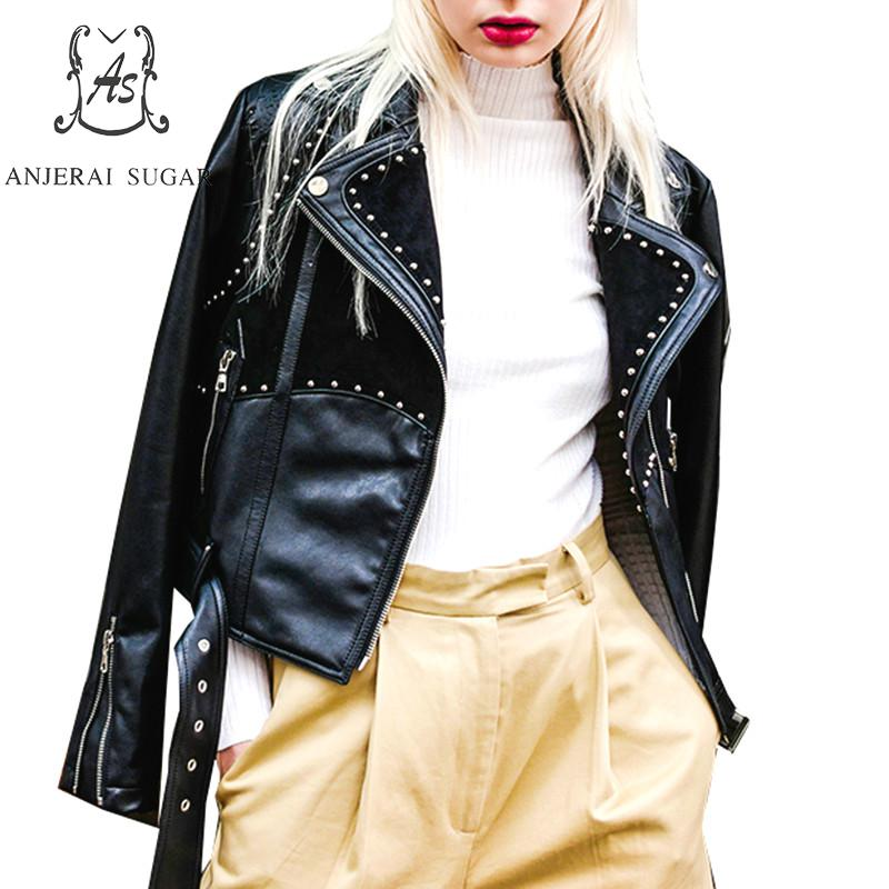 PU   Leather   jacket Women coat Faux   Leather   black rivet Stitching   suede   motorcycle female short cazadoras de cuero abrigos mujer