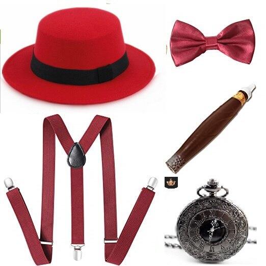 1920s AL CAPONE MEN RED GANGSTER TIE BRACES BLACK HAT CIGAR FANCY DRESS ACC