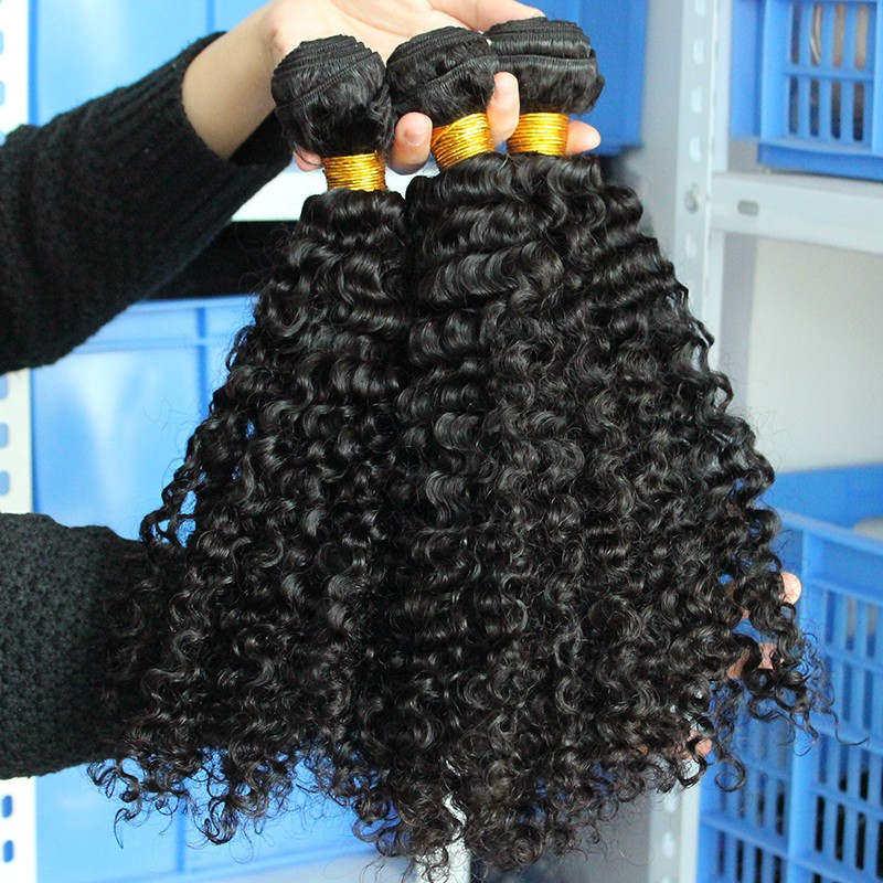 3B 3C Kinky Curly Weave մարդկային մազերի - Մարդու մազերը (սև) - Լուսանկար 4