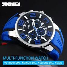 SKMEI 9128 Homens De Quartzo relógios de Pulso Moda Esporte Stop Watch Auto Data 30 M Relógios À Prova D' Água Relogio masculino Relógios de Marca Masculinos