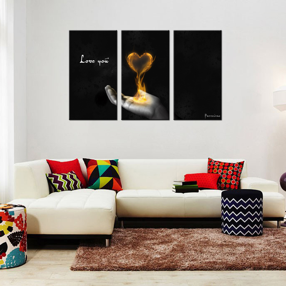 Home decor paintings - Home Decoration Paintings Triptych Picture Prints On Canvas Modern Poster Graphic Canvas Wall Decor Art Hand Fire Love You Print In Painting Calligraphy