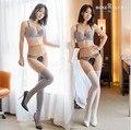 MOCK SUSPENDER CALÇAS JUSTAS 20D falso das Mulheres coxa alta meias open-virilha meia-calça de cintura alta, Gusset Justas crotchless Aberto