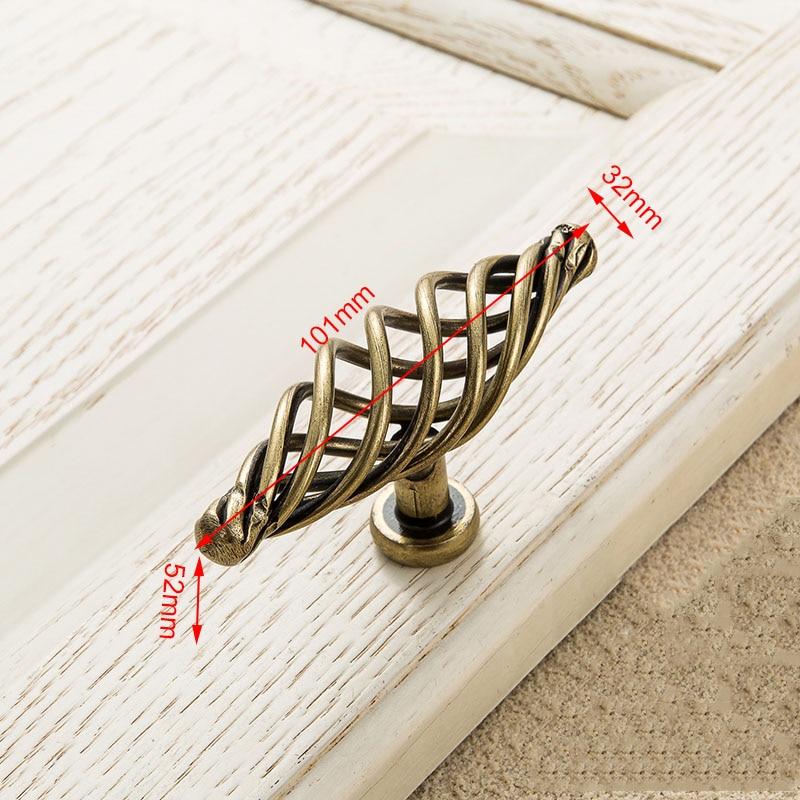 KAK винтажные антикварные бронзовые ручки для шкафа, полые ручки для птичьей клетки, ручки для выдвижных ящиков, Съемники дверей шкафа, Мебельная ручка - Цвет: 3103 Bronze