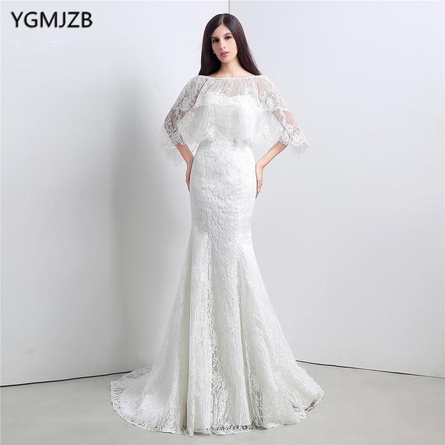 Sexy Backless Meerjungfrau Hochzeitskleid Designer Spitze mit Jacke ...