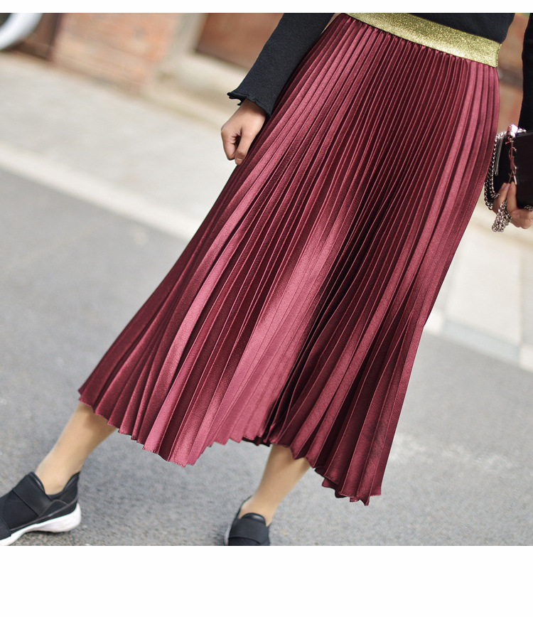 Stretch High Waist Long Pleated Skirt 5