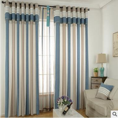 New Arrival 2 Color Velvet Fabric Blue And Red Striped Modern Mediterranean Curtains For