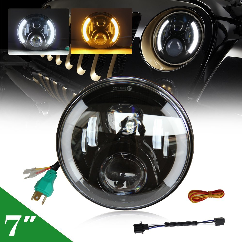 CO LIGHT 1PCS 7 80W LED Headlights with Angel Eye Hi Lo 12V 24V Auto Led