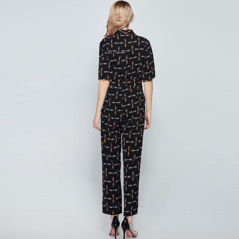 Combinaisons pour femmes 2019 printemps et été nouveau lâche col en v mode imprimé dames barboteuse à manches courtes combinaison longue - 2