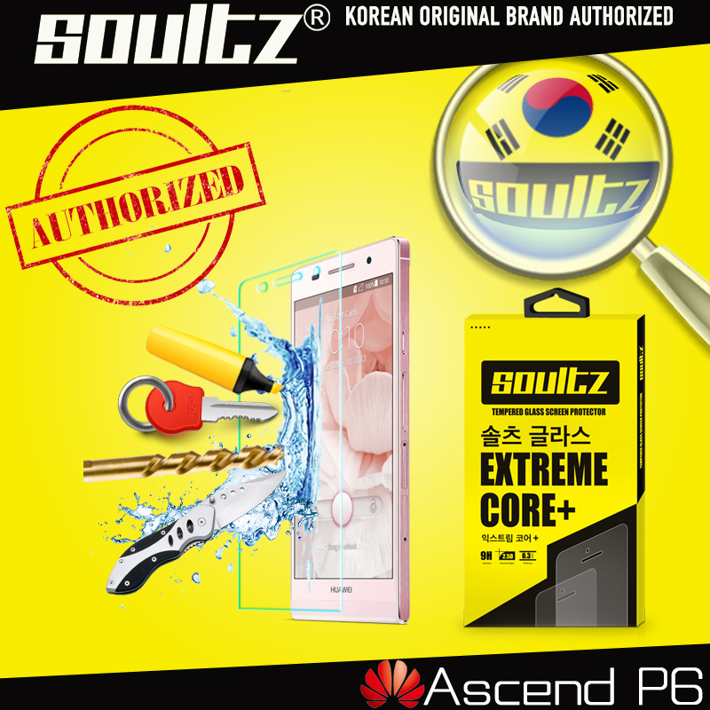 Original Soultz 9H 0.3MM Protective Film For Huawei Ascend P6 Tempered Glass Screen Protector with Retail Package
