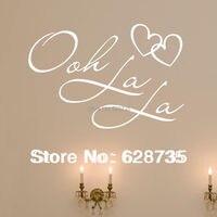 Wholesale Fr2000 Free Shipping Ooh La La Paris France Hearts Love Quote Vinyl Wall Decal Decor
