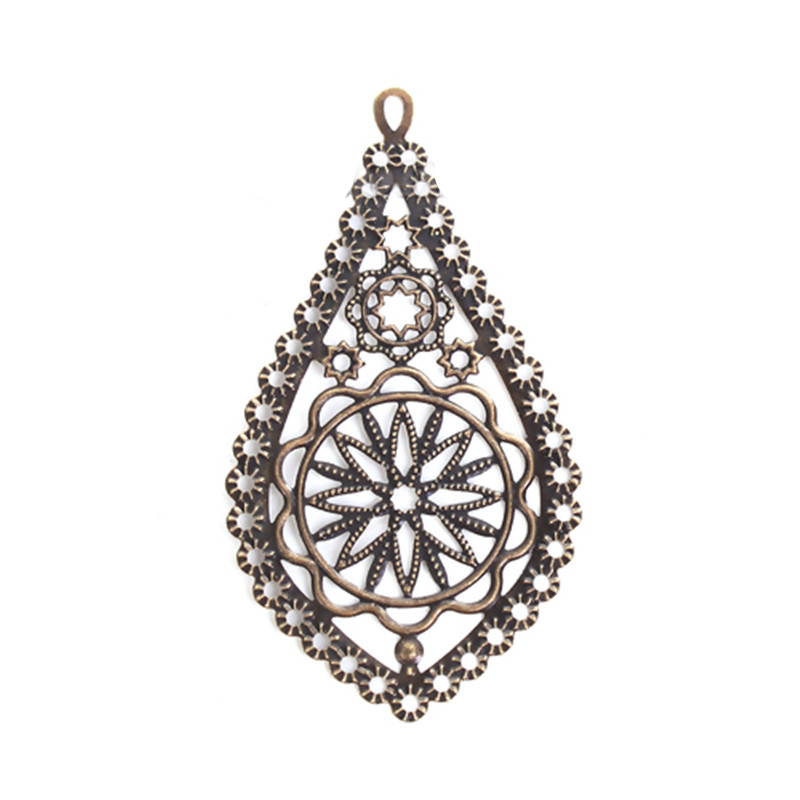DoreenBeads Zinc Based Alloy Embellishments Drop Antique Bronze Filigree Jewelry Findings 78mm(3 1/8