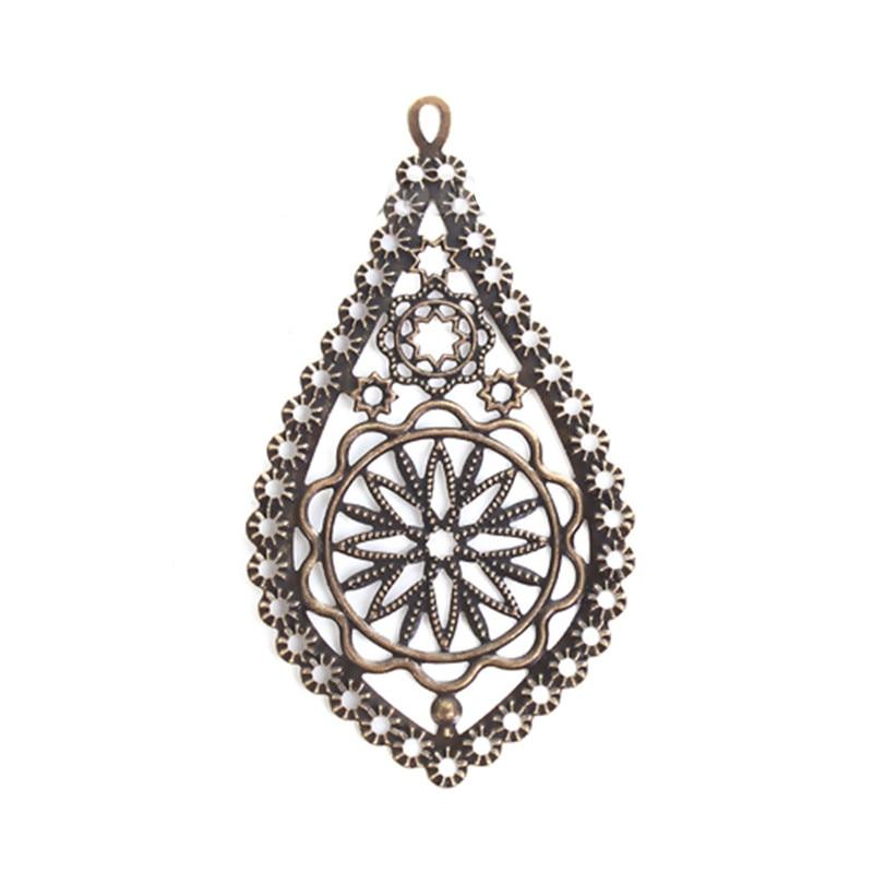 DoreenBeads Zinc Based Alloy Embellishments Drop Antique Bronze Filigree Jewelry Findings 78mm(3 1/8) x 42mm(1 5/8), 4 PCsDoreenBeads Zinc Based Alloy Embellishments Drop Antique Bronze Filigree Jewelry Findings 78mm(3 1/8) x 42mm(1 5/8), 4 PCs