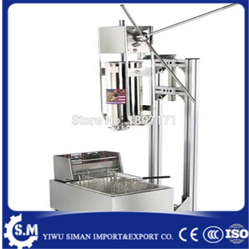 5L commerical vertical Churro maker with 6L deep fryer Latin fruit machine Spanish fritters commercial stainless steel churro machine 25l electric fryer manual spanish churros maker 4 nozzles