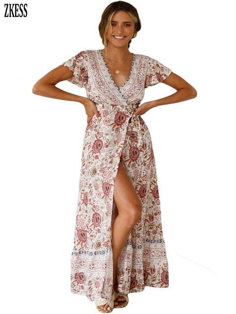 9eb6687473f ZKess Women Sexy V-Neck Beach Resort BOHO Printed Dress Fashion Wrapped  Bodice Flutter Capped Sleeve Slit Maxi Long Dress 611149