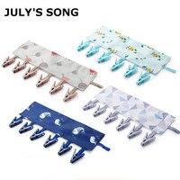 JULY'SONG 4Pcs Portable Travel Cloth Hanger Clips Foldable Cloth Rack Polyester Clothespin Clip Creative Hanger Rack Bag Set