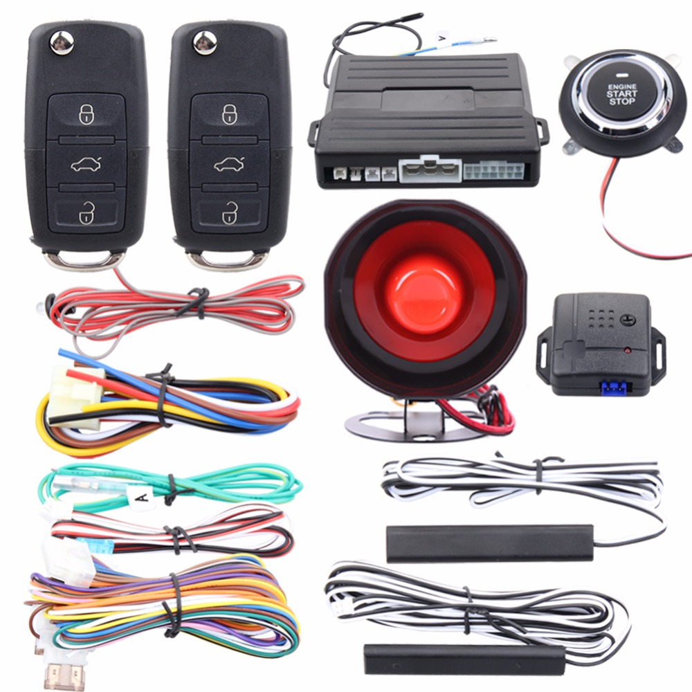 Quality Easyguard PKE car alarm system passive keyless entry kit remote engine start push button start remote lock unlock kowell hopping code pke car alarm system w passive keyless entry remote engine start stop push button power ignition switch