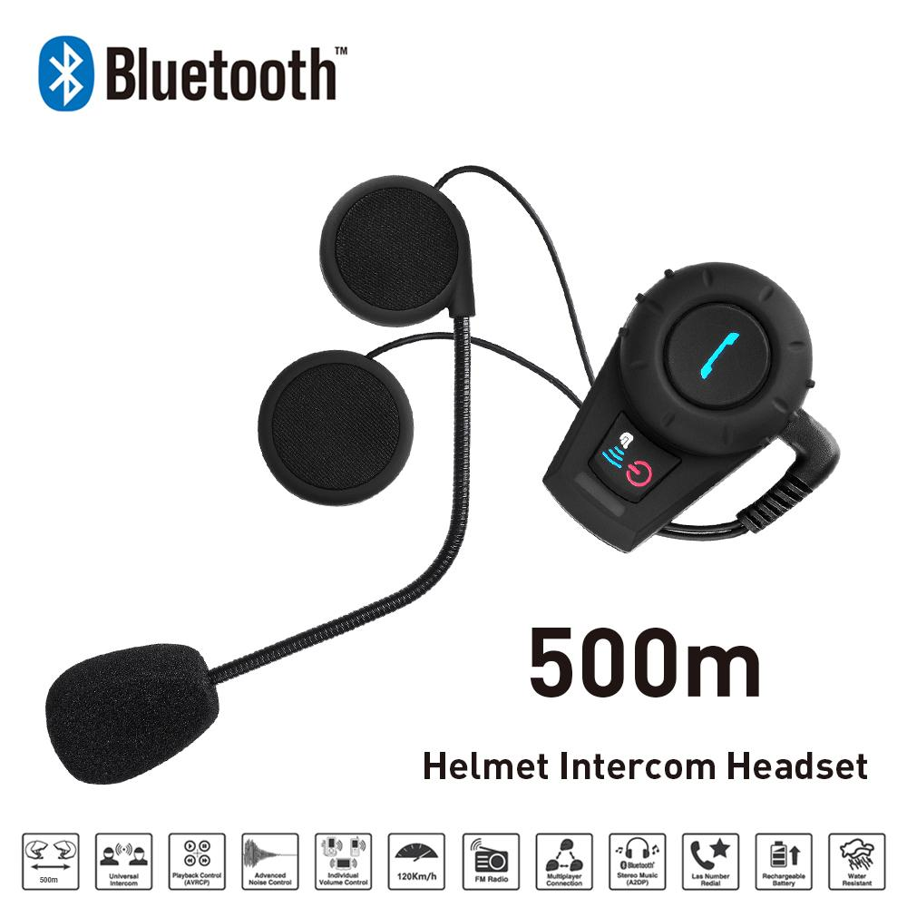 New 500M Motorcycle BT Bluetooth Interphone Headset Helmet Intercom Intercomunicador with FM Radio for Phone font