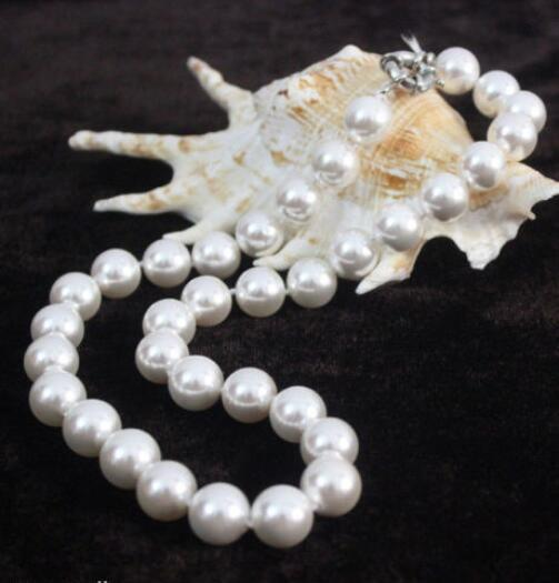 """FREE SHIPPING>>>@@ Hot sale new Style >>>>> Fashion 10mm White Shell Pearl Beads Necklace Woman Jewelery 18"""""""