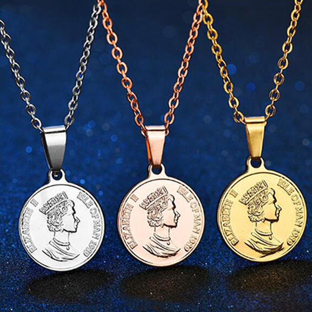332a940eb1a57 US $3.99 31% OFF|HOBBORN Queen of United Kingdom Women Necklace Stainless  Steel Elizabeth II Link Chain Men Coin Necklaces & Pendants Jewelry-in ...