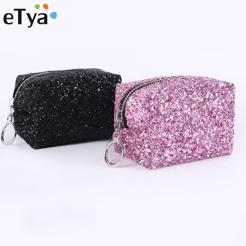 ETya Paillette Small Cosmetic Bag Female Purses Multifunctional Fashion Makeup Bags Travel Portable Storage Mini Zipper Pouch
