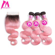 Maxglam Body Wave Brazilian 3 Hair Weave Bundles With Closure Ombre 1b/Pink Remy Human Hair Bundles With Closure Free Shipping(China)