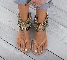 Ayak bileği Wrap Kapak Topuk Kadın Gladyatör Düz Sandalet Eğlence Roma Yaz plaj sandaletleri Katı Zincir Roma Ayakkabı