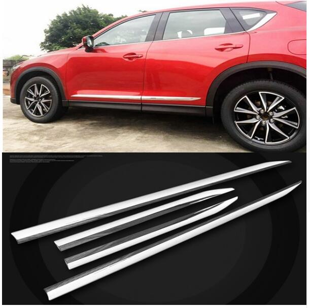 For Mazda CX-5 CX5 2017 2018 ABS Chrome Door Side Body Molding Line Garnish Cover Trims Protector 4Pcs/set Car Styling car styling body trim for mazda 3 axela 2014 2017 sedan car side door body molding trim cover line garnish protector accessories