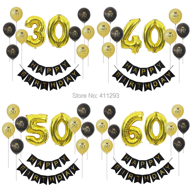 30th Birthday Balloon 30 40 50 60 70 80th Birhday Party Decoration Happy Banner Black Gold Digital Foil Balloons