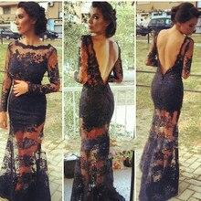 Vestidos De Festa 2015 New Fashion Elegant Scoop Neck Long Evening Dresses Open Back Sleeve Party Dress Lace Prom Gowns