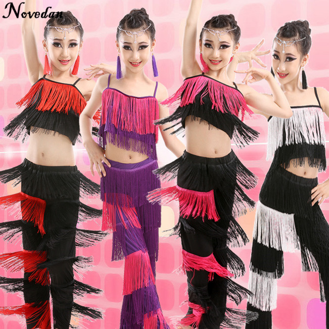 New Children Bachata Latin Dance Costumes Girls Ballroom Tango Salsa Latin Dance Competition Costume Fringe Pants Tops