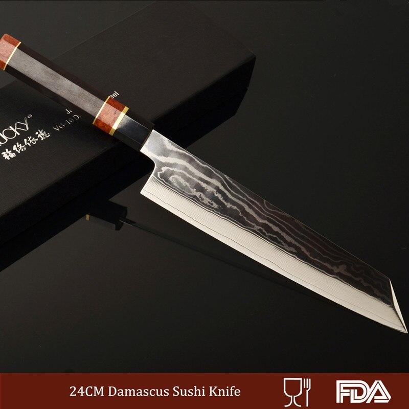 Professionnel Kiritsuke Damas-motifs Lame Core VG10 Chef Couteau Sushi/Sashimi Brute Coupe De Filetage Du Poisson Ébène 2.1.1