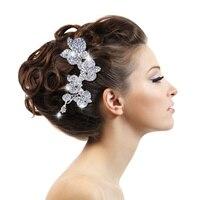 Fashion Wedding Accessories Charm Austrian Crystal Flower Leaf Bridal Hair Comb Wedding Decoration Hair Jewelry For