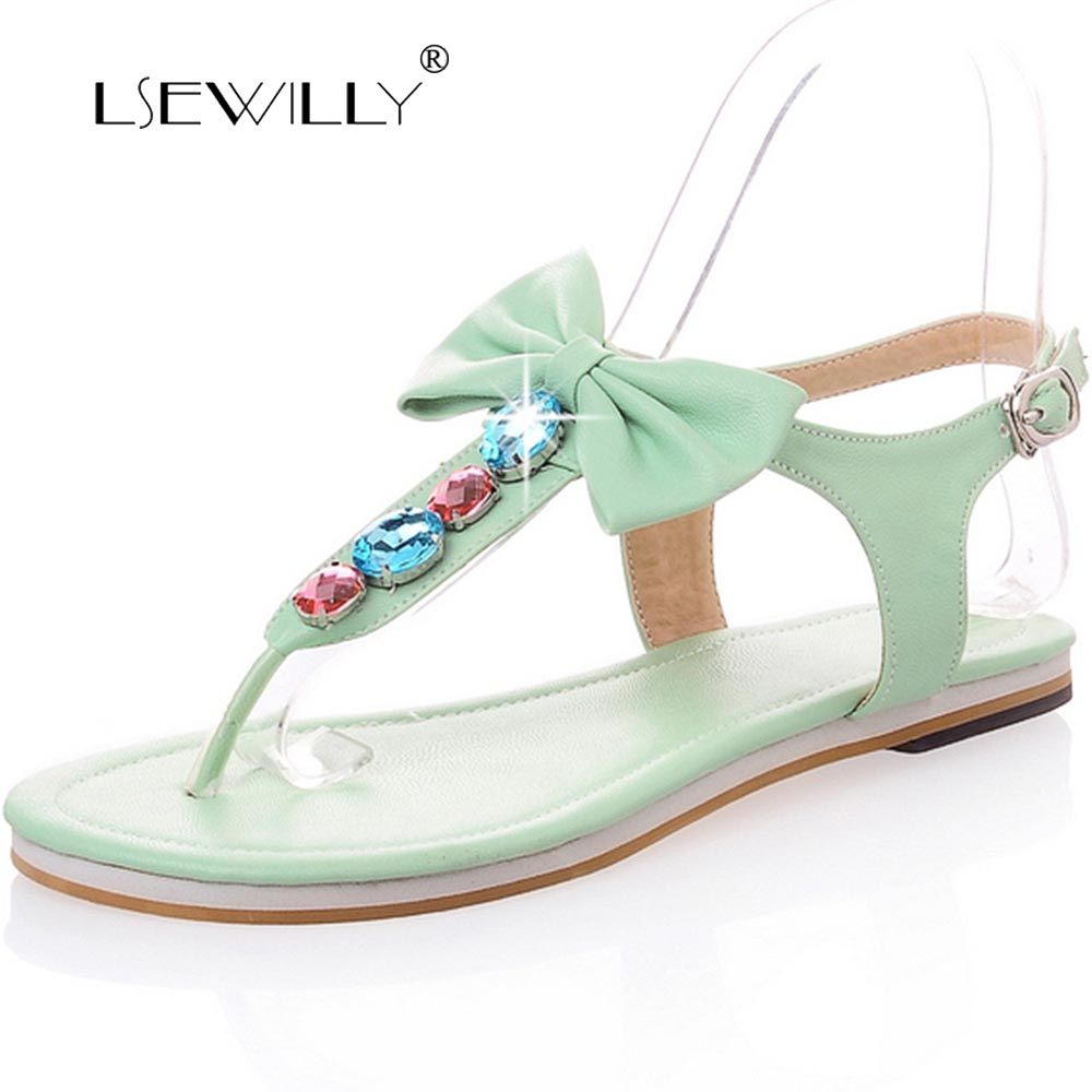 Lsewilly Women Sandal New Fashion Spring Summer Bow Pearl Flip-Flop Gladiator Elastic Strap Flat Heel Sandals Slipper Shoes S024