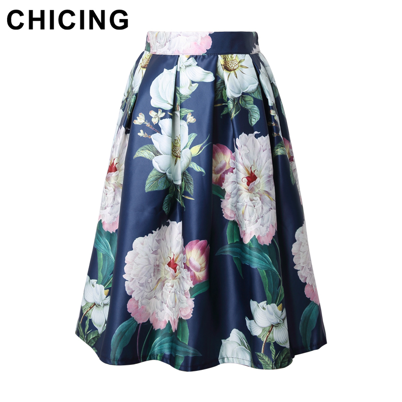 1a58c072d6 CHICING Floral Print Knee Length Skirt Fashion 2016 Blue White Vintage Ball  Gown Pleated High Waist Midi Skirts Womens A1503021-in Skirts from Women's  ...