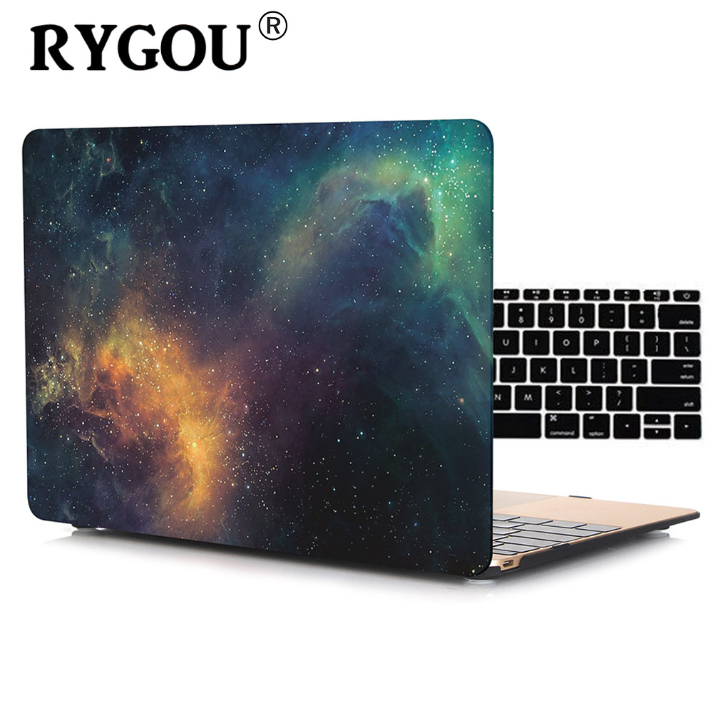 RYGOU Decal Marble Hard Case For Macbook Air 13 With Keyboard Cover For MacBook Air Pro Retina 11 12 13 15 inch Laptop Bag Case new notebook case bag for macbook air 13 pro 15 case retina 13 3 15 4 cover women men laptop bag 13 15 inch with power bag