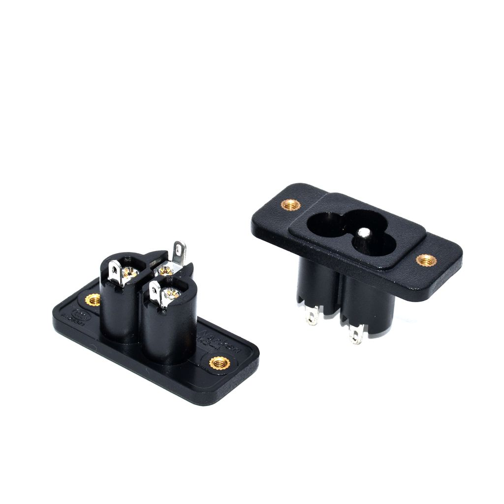 Electrical Plug Electrical Sockets & Plugs Adaptors Good Quality Ce Rohs Black Ac Power Socket Terminal Wire Foot 90 Degree Flapper Feet With Ear Screw Hole Fixed Plum Outlet