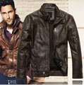 Mens Stand Collar Leather Jackets Autumn Winter New Fashion Mens Bomber Motorcycle Leather Jacket Jaqueta Couro Masculino Moto