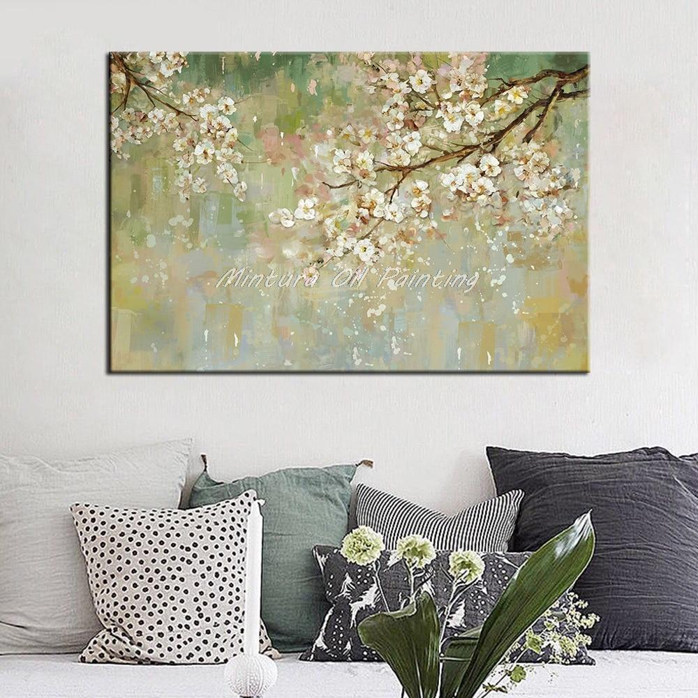 Mintura ручная роспись цветы и дерево Рисование современные картины маслом на холсте настенные картины для гостиной домашний Декор без рамки - Цвет: MT161530