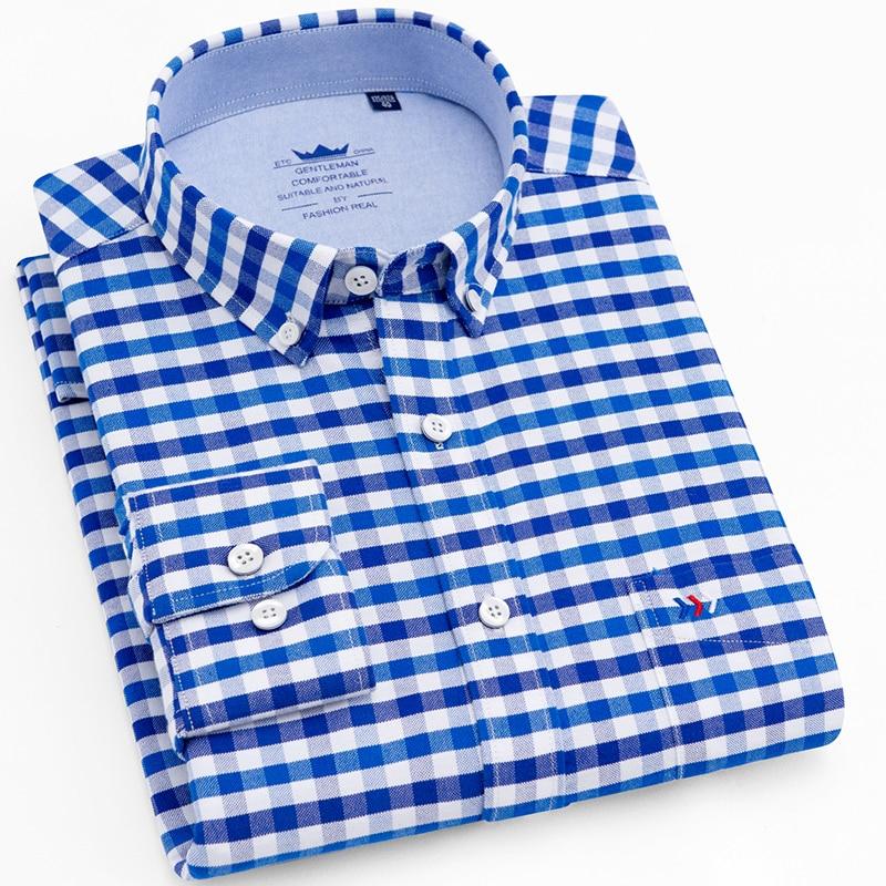 LANGMENG 2018 100% Cotton Striped Oxford Dress Shirt Men High Quality Mens Long Sleeve Slim Fit Casual Shirts Brand Clothing