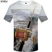 KYKU Fish Tshirt Men Women 3d Printing T Shirt Funny Shirts Hip Hop T-shirt Fisherman Fishing Metal Mens Clothing Casual Tops