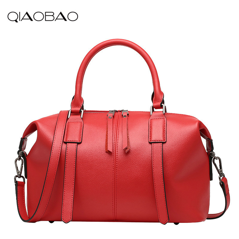 QIAOBAO Real Cow Leather Ladies Women Genuine Leather Handbag Shoulder Bag Quality Designer Luxury Brand Boston Crossbody Bag women genuine leather handbag fashion trend shoulder bag office lady tot high quality designer luxury brand boston crossbody bag