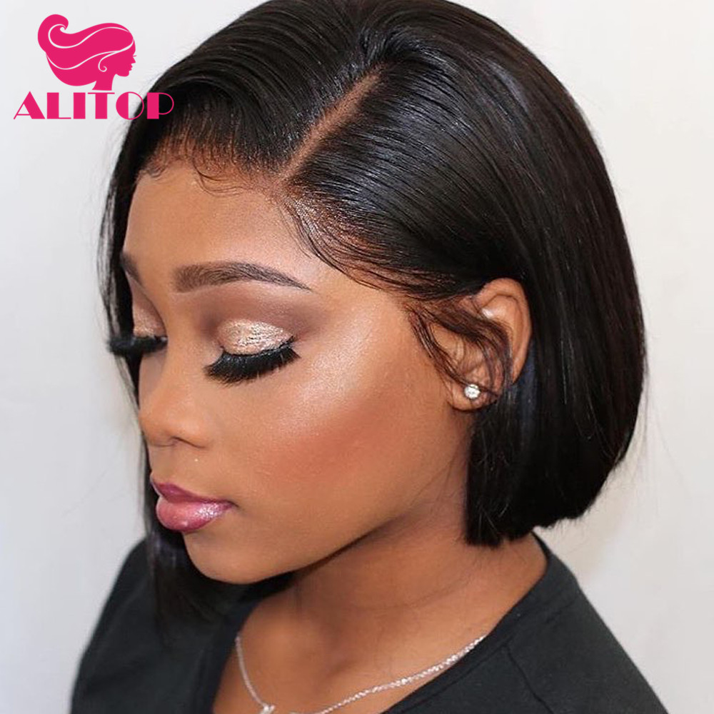 ALITOP 13x4 Short Straight Bob Wig Lace Front Human Hair Wigs For Black Women Pre Plucked Natural Color Brazilian Remy Hair Wig