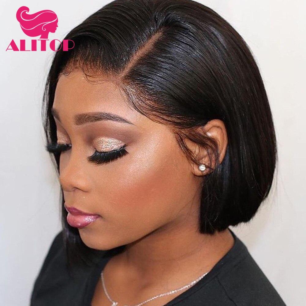 ALITOP 13x4 courte droite Bob perruque dentelle avant perruques de cheveux humains pour les femmes noires pré-cueillies couleur naturelle brésilienne Remy perruque de cheveux