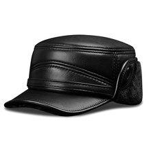 Шапка-бомбер из натуральной кожи, Мужская Фирменная новинка, кожаные армейские шапки из овчины, черные шапки с искусственным мехом внутри
