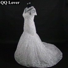 2017 The Latest Short Sleeves 3D Appliques Mermaid Wedding Dress Plus Size Lace Bridal Gown Vestido De Noiva