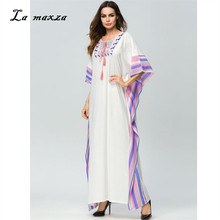 Abaya Maxi Dress Muslim Women Islamic Robe Kaftan Dubai Tassel Muslim  Dresses Prayer Moroccan White Dress ef53ef913a84