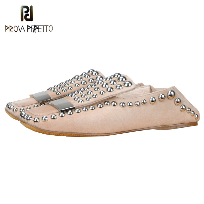 Prova Perfetto Metal Rivet Studded Spring New Flat Casual Shoes Slip On Cozy Women Two Wear Shoe Big Size Genuine Leather Shoes цена