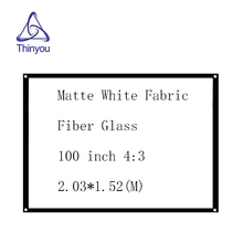 Thinyou Simple Projector Screen 100 inch 4:3 Matte White Fabric Fiber Glass with Eyelets without Frame screen wall for projector