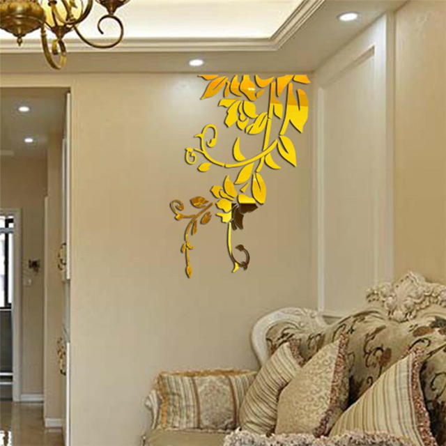 3D Diy Acrylic Mirror Stickers for Room Decoration Flower Wall Decals Sticker Living Room Bedroom Wall Decor Home Sticker 4
