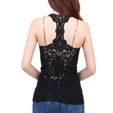 Summer Women Tank Tops T-Shirt Sexy Lace Vest Top Crochet Back Hollow-out Vest Camisole Black & White Sleeveless Crop Top 7AA166